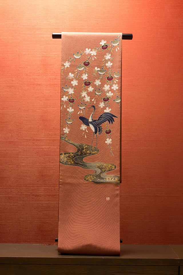 布施弥七京染店謹製・吉祥橘鶴染帯